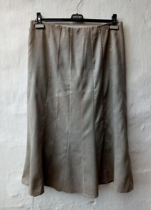 Красивая юбка а-силуэт с вышевкой,пояс резинка,под замш,выворотка,большой размер,кэжуал.