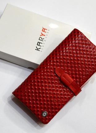 Женский красный кошелек из натуральной кожи турецкого производства