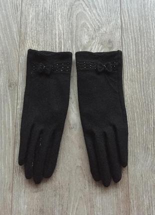 Чёрные шерстяные перчатки с бантиками, размер 6,5, шерсть, зимние