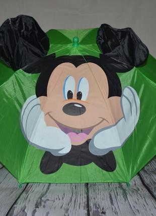Зонтик зонт детский трость микки маус и минни маус со свистком разные цвета
