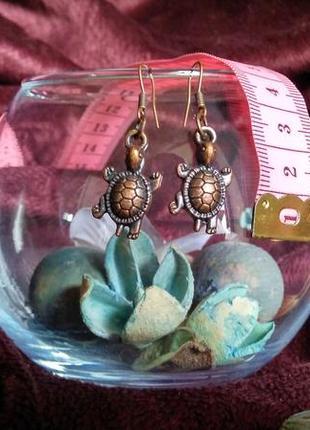 Серьги vintage handmade милые черепашки (цвета состаренная медь)