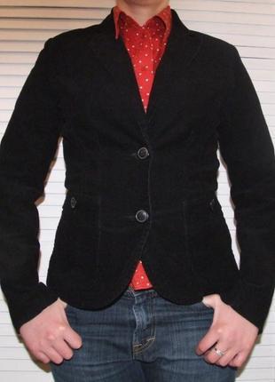 Вельветовый пиджак жакет h&m черный классический