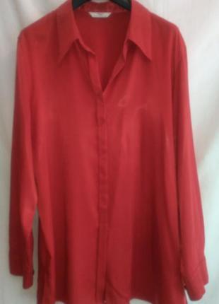 Нарядная модная  женская  рубашка  ярко  красного цвета
