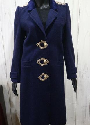 Дизайнерское шерстяное пальто anna klein, xs-s