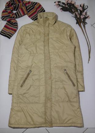 Бежевая куртка длинная,пальто на синтепоне/ демисезон с кулиской -м