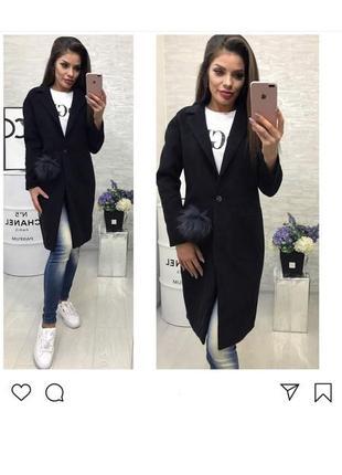 Пальто с помпоном, прямого покроя, тренд 2018!!!