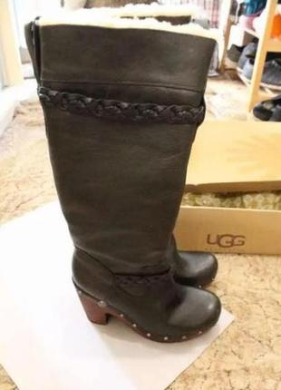 Зимние кожаные сапоги ugg на меху, высокие сапожки на устойчивом каблуке, 37-38р 24-24,5см