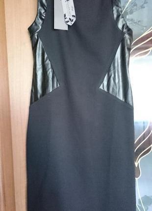 Платье со вставками кожзама  италия