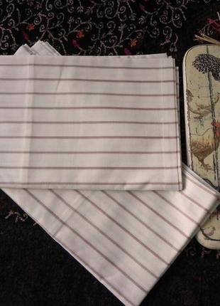 Набор наволочек из двух штук белые в полоску с отстрочкой по краю, новые, бязь 70*70