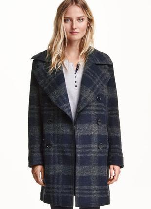 Пальто в клетку с шерстью