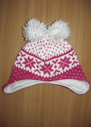 Зимняя вязаная шапка на флисе с помпонами узор снежинки 2-3 года