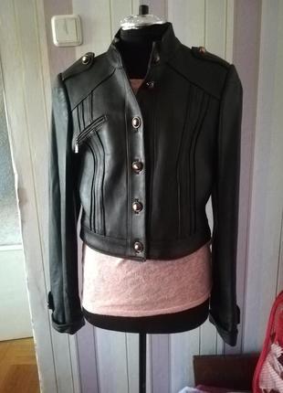 Куртка трансформер кожаная черная (куртка-рубашка)