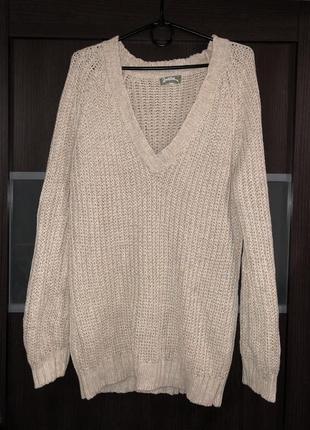 Актуальный шерстяной  свитер  оверсайз ,