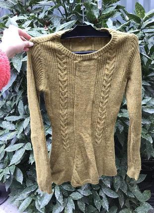Кофта свитер свитшот джемпер водолазка лонгслив в косы вязанная шерстяная