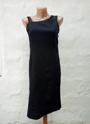 Черный сарафан-платье с молниями на брительках,классический,презентабельный,офисный.