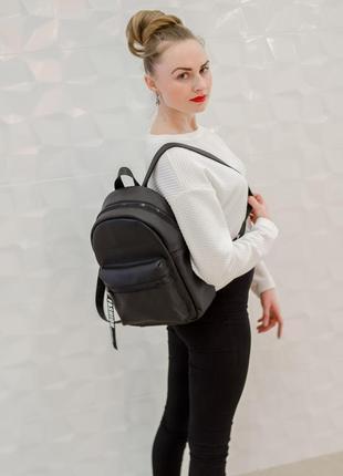 Стильный женский рюкзак чёрный для города, учебы, прогулок