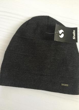 Спортивная шапка/ тёмно- серая женская шапка