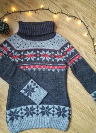 Вязаный свитер, кофта с горловиной