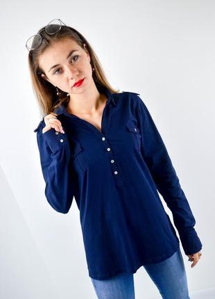 Massimo dutti синяя рубашка из эластичного хлопка с длинным рукавом, лонгслив, кофта