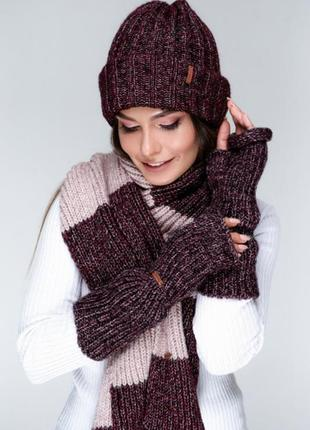 Комплект : шапочка,шарф и митенки