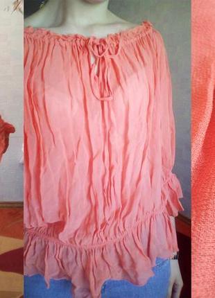 Нежно коралловая блуза