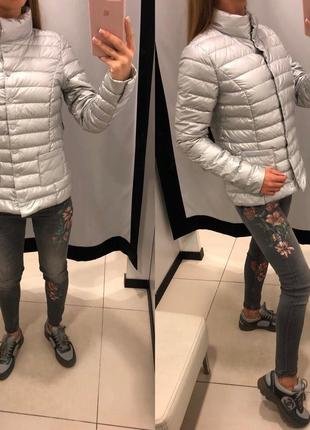 Серебряный пуховик на кнопках mohito демисезонная куртка курточка на пуху есть размеры