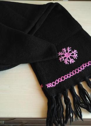 Шарф теплый 50% шерсть германия blu motion шарфик со снежинкой шерстяной