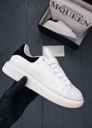 36 37 38 39 40 отличные женские кроссовки кеды alexander mcqueen white black белые