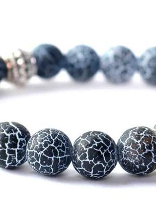 Браслеты из натурального камня серый агат с черепом