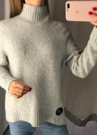 Тёплый серый свитер под горло amisu вязаный пуловер гольф xs-xl