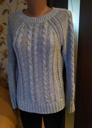 Стильная кофта свитер вязка серый