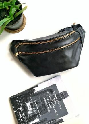 Стильная сумка на пояс из натуральной кожи.бананка с 2мя отделениями.женская кожаная сумка