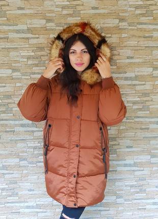 Женская длинная куртка рыжая