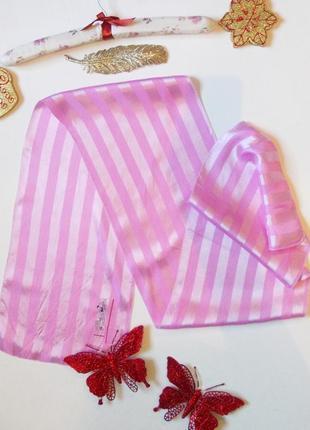 Легкий розовый шарф платок атласный