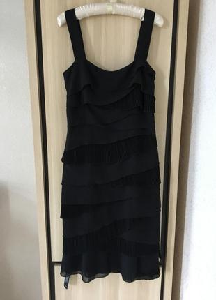 Платье миди черное вечернее нарядное на брителях