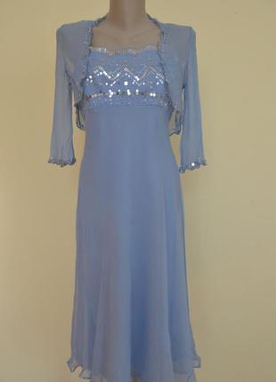 Фирменное шелковое нарядное платье   болеро 100% шелк