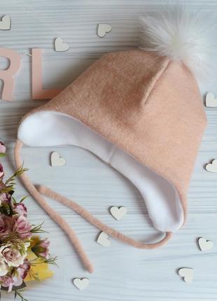 Теплая шапка с помпоном 48-50