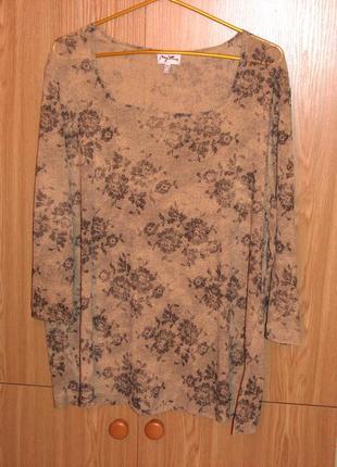 Симпатичная блуза с принтом - розы, блузка с рисунком 50-52 р.