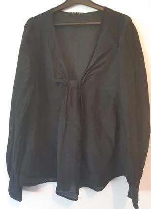 Черная блуза sisley шелк хлопок