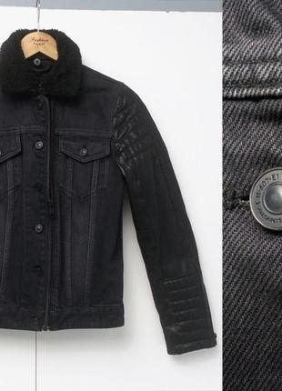 All saints allsaints spitalfields джинсовая куртка с кожаными рукавами xs