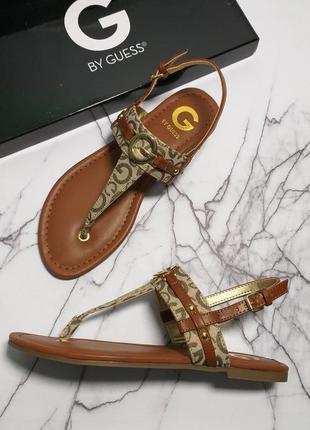 Сандалии guess оригинал коричневые с логотипом бренд из сша