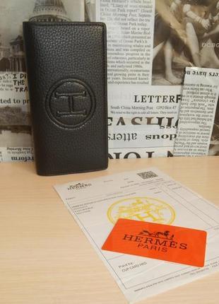 Мужской кошелек, портмоне, бумажник hermes, кожа, франция 62011