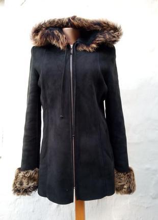 Натуральная теплая черная замшевая дубленка на молнии с капюшоном,шуба,кожа,бренд.