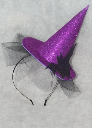 """Ободок для волос к хэллоуину """"шляпка ведьмы"""""""