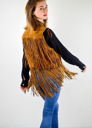 Zara жилет из натуральной кожи с бахромой, накидка, кардиган