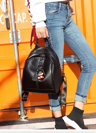 Женский кожаный стильный рюкзак