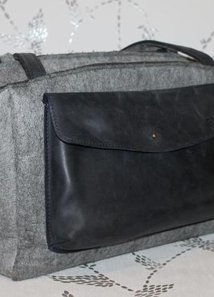 Большая сумка кожа+войлок eve