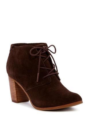 Замшевые ботинки toms оригинал на широком каблуке и шнуровке бренд из сша
