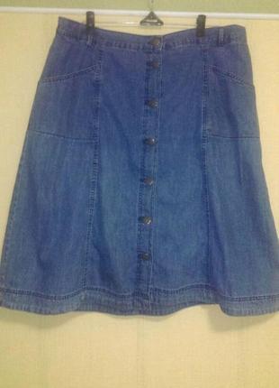 Красивая джинсовая юбка юбочка большого размера пот 55 см