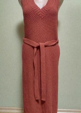 Красивый длинный жилет платье с поясом